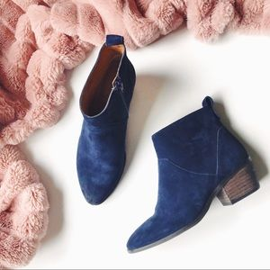 Sole Society Blue Suede Low Heel Ankle Booties